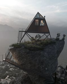 thilina liyanage balances his 'ocean cabin' atop a rocky coast Sketchup Pro, Cabin Homes, Amazing Architecture, Adobe Photoshop, Real Estate, Ocean, Construction, Concept, Tools
