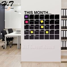 Great idea for a home office, chalkboard calender with (colour-coded obviously) sticky notes for dates/events or assignments Office Interior Design, Home Office Decor, Office Interiors, Office Ideas, Office Workspace, Office Walls, Chalkboard Wall Calendars, Chalkboard Vinyl, Future Office