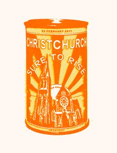 "Buy a Sure to Rise tea towel | Earthquake Tea Towel. Designed by Christchurch's God Save the Queen, the teatowell marks the 2011 earthquake that collapsed the Christchurch Cathedral. It has echoes of New Zealand's Edmonds ""Sure to rise"" slogan on their baking powder tins and their factory which was, sadly, demolished to make way for a service station some years ago."