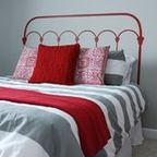 red and grey guestroom - modern - bedroom - other metro