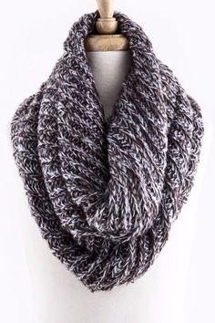 Two-Tone fuzzy knit Infinity Scarf
