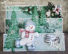 Hi friends, sharing a card I made with the Snow Kissed  collection from Heartfelt Creations .  I started with a white flipfold insert for t...