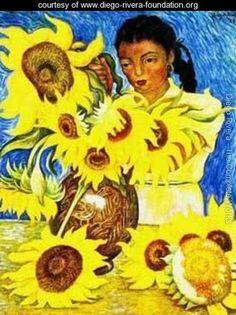 Muchacha Con Girasoles - Diego Rivera - www.diego-rivera-foundation.org