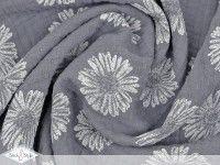 Musselin Stoff Pusteblume - dunkelgrau Baumwolle