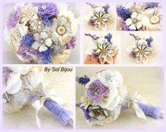 Broche Bouquet ramo de tela y Boutonniere en marfil, Lila y blanco con plata y oro Acentos - Vintage Girl