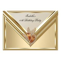 "Elegant Amber Caramel Beige Gold Birthday Party 5"" X 7"" Invitation Card"