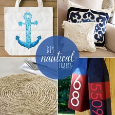 Channel your inner beach lover with 10 DIY nautical crafts - tote bags, throw pillows, necklaces and more! Ocean Crafts, Beach Crafts, Diy Craft Projects, Crafts To Make, Fun Crafts, Nautical Office, Nautical Art, Boat Decor, Beautiful Interior Design