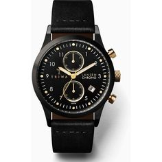 Triwa Midnight Lansen Chrono Watch - Black (£225) ❤ liked on Polyvore featuring jewelry, watches, accessories, black, crown jewelry, leather-strap watches, leather strap bracelet, chronograph watches and black watches