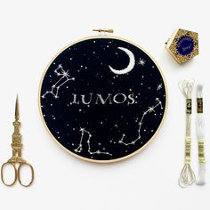 A magical Harry Potter hand embroidery design featuring 3 constellations – the Canis Major (Sirius Star), Scorpio and Draco Metallic Thread Tips! Embroidery Patterns Free, Embroidery Hoop Art, Hand Embroidery Designs, Cross Stitch Embroidery, Knit Patterns, Harry Potter Quilt, Embroidery On Clothes, Metallic Thread, Draco