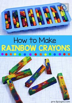 How to make rainbow crayons: Keep them in a tray, melt them for sometime, let it dry for while, and READY!