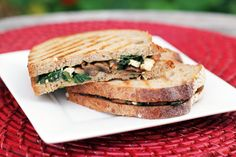 Spinach Mushroom Panini with Feta...a very yummy, fast, vegetarian meal Delish!