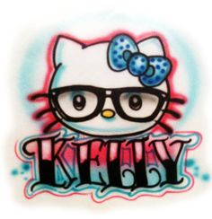 hello kitty nerdy airbrushed tshirt adult and by streaksandblurs - Coloring Pages Kitty Nerd