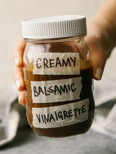 This Creamy Balsamic Vinaigrette is a quick, easy and simple creamy balsamic dressing you can use on salads or as a marinade. This is better than store-bought dressings! We keep a jar of this flavorful and healthy dressing in the fridge at all times. Homemade Balsamic Dressing, Creamy Balsamic Vinaigrette, Balsamic Vinegarette, Creamy Balsamic Dressing, Creamy Salad Dressing, Vinaigrette Dressing, Dressing Recipe, Ranch Dressing, Coconut Chia Seed Pudding