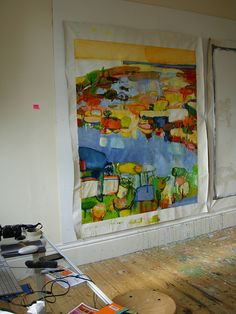 Caroline Havers.  Wow, she works her canvases before stretching them! This might not work with impasto.