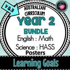 Year 2 LEARNING GOALS Bundle ENGLISH, MATHS, SCIENCE, HASS | TpT