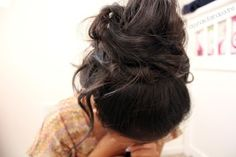 Messy hairstyle.