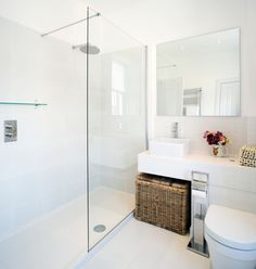 Like the straight lines of sink and toilet, with stretched counter space.  Ideal for small spaces
