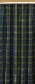 Black Watch Shower Curtain Mallard Duck Inspired Green Blue Yellow Tartan Plaid
