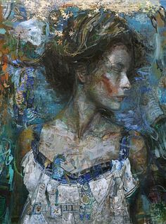 Charles J. Dwyer, Jr. (b.1961), mixed media {figurative #expressionist art beautiful female head woman face portrait profile grunge texture painting #loveart #noveltechnique}