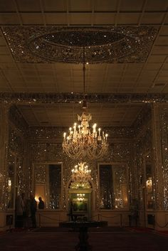 Chandeliers and a twinkly ceiling.
