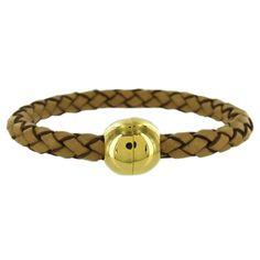 Stainless Steel 6 mm Tan Leather Bead Weave Men's Bracelet - Fire & Ice