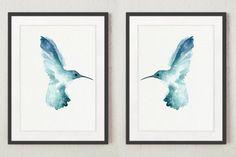 Kolibri-Satz 2-teilig Teal Tier Kunstdruck von ColorWatercolor