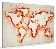 Map of the World Paint Splashes canvas art print poster