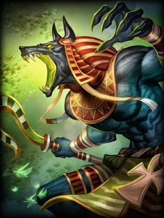 Anubis, the God of the Dead, is a Mage of the Egyptian pantheon in Smite. Jackal-headed Anubis holds the ultimate judgment over the dead, measuring every heart against the weight of Truth. Fantasy Wesen, Fantasy Art, Anubis Tattoo, Egyptian Mythology, Egyptian Symbols, Egypt Art, Gods And Goddesses, Mythical Creatures, Ancient Egypt