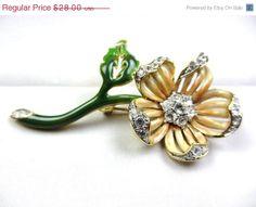 ON SALE Nolan Miller Enamel Rhinestone Flower Brooch 1950s Vintage Jewelry