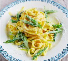 April Bloomfield's tagliatelle with asparagus and parmesan fonduta recipe.
