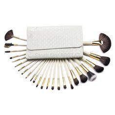 24 pcs Professional Portable white makeup brushes kit make up Brushes Set Cosmetic Brushes with Leather case