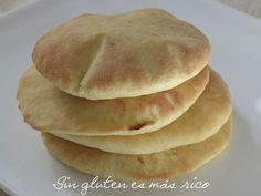 Sin gluten es más rico: Pan de pita sin gluten Sem Lactose, Lactose Free, Vegan Gluten Free, Gluten Free Recipes, Dairy Free, Chapati, Gluten Free Pastry, Pan Bread, Pitta
