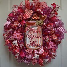 Valentine Wreath, Valentine Mesh Wreath, Mason Jar Wreath, Valentine's Wreath, Love Wreath, Valentine's Door Hanger, Valentine's Day Mesh by Texascaseyscreations on Etsy