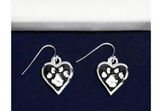 Paw Print Heart Earrings - (PPE-04)