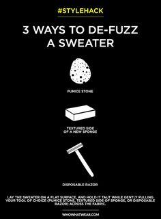 3 ways to de-fuzz your favorite black sweater // style hack