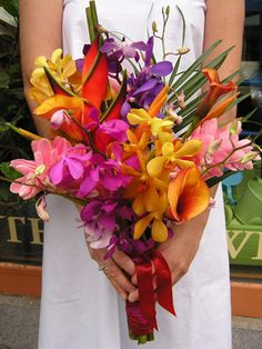 hawaiian bridal boquet - pink ginger, rainbow heliconia, mango orange callas, palm fern, yellow sea orchids and bird of paradise