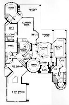 House Plan 58901 at FamilyHomePlans.com - remove entry and parlor and turn dining rotunda into entry.