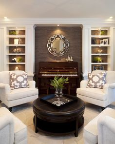 4 Armchairs Library Den Minus Piano Living Room Remodel Interior Design W Transitional Modern Style Traditional