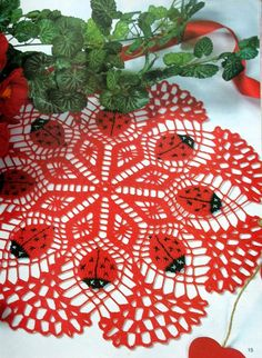"crochet doily, table decoration, center piece ""Ladybug""   PATTERN (CHART)"