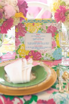 "Every Party Should Have... - Host a Lilly Pulitzer-Inspired Luncheon! - Southernliving. Something personal and memorable. ""I'll often display the menu in a take-home frame and have a photo taken of guests that they can later add to the frame,"" she says."