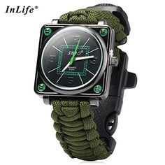 Men Women Survival Watch6 in 1 Survival Fire Starter Paracord Compass Whistle Rescue Bracelet Outdoor Watch Army Green * To view further for this item, visit the image link.Note:It is affiliate link to Amazon. #BoatSafety