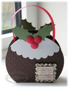 It's a simple box inside made from Chocolate Chip cardstock and sandwiched between two puddings, which were circles cut from Chocolate Chip cardstock, embossed using the polka dot embossing folder and decorated Christmas Paper Crafts, Christmas Gift Box, Christmas Goodies, Christmas Projects, Christmas Greetings, All Things Christmas, Handmade Christmas, Holiday Bags, Christmas Ideas