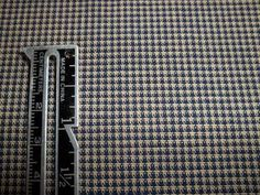 Navy blue and cream colored checked 100% Homespun Cotton fabric