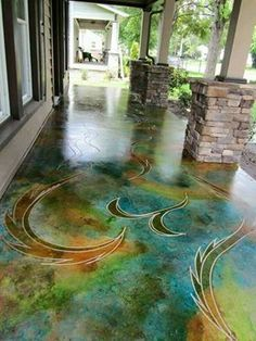 Etched and stained concrete: 32 Amazing Floor Design ideas for Homes Indoor and Outdoor Stained Concrete, Concrete Patio, Concrete Design, Concrete Staining, Concrete Countertops, Concrete Lamp, Paint Concrete, Floor Design, House Design