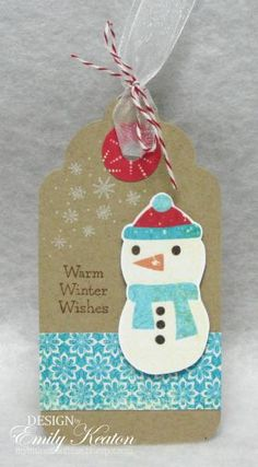 Warm Winter Wishes Snowman Tag by ejkeaton - Cards and Paper Crafts at Splitcoaststampers