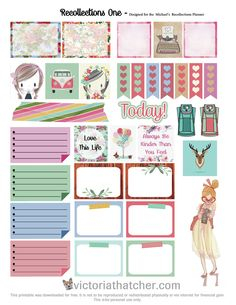 Free Printable Recollections Planner Stickers  from Victoria Thatcher