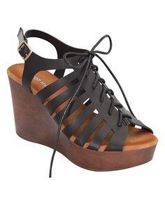 Black Lace-Up Ember Sandal #zulily #zulilyfinds