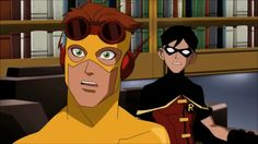 Season 1 Episode 1 Independence Day: Wally West/Kid Flash & Dick Grayson/Robin shocked by Speedy's outburst Superhero Cartoon, Best Superhero, Young Justice Season 1, Nightwing Young Justice, Justice Kids, Welcome To The Team, Wally West, Blue Beetle, Kid Flash