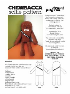 Chewbacca softie pattern. Image is of the pattern I've been looking for O'Joy!
