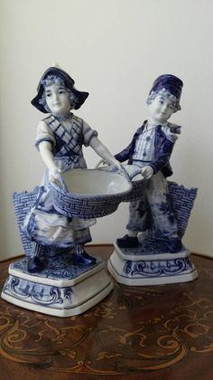 Antique Delft Figurines Hand Painted Blue White Porcelain Boy and Girl Figures 1900c